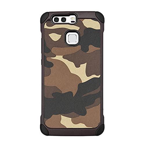 Adecuado para Huawei mate9 funda de teléfono móvil P9 plus cubierta protectora camuflaje anti-gota lite todo incluido TPU-especial gris_P8