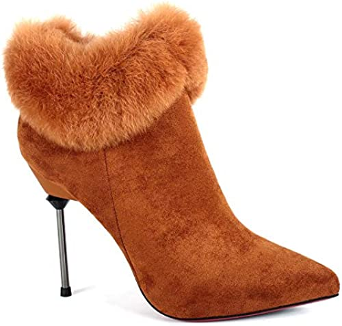 Shukun Botines Moda Señaló Stiletto Plush Martin botas mujer otoño e Invierno Elegantes Botines de Gamuza Personalidad