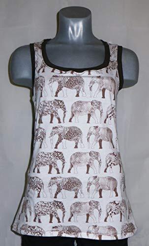 Top Shirt Damen grün weiß Elefanten Afrika Gr. M 38 40
