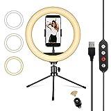 UPhitnis Luz de Anillo LED 10' fotográfica de Escritorio, 3 Colores 10 Brillos Regulables Control Remoto, Trípode con Soporte Giratorio de teléfono para Selfie, Maquillaje, Youtube, TIK Tok