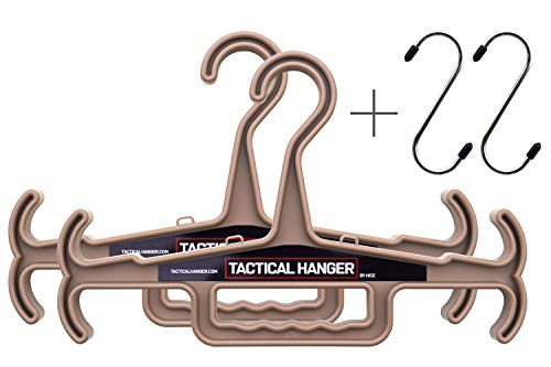 Tactical Hanger by HICE  Set of 2  Heavy Duty Hanger  170 lb Load Capacity  Durable High Impact Resin  Great for Body Armor Police Gear Military Gear Survival Gear and Equipment Tan