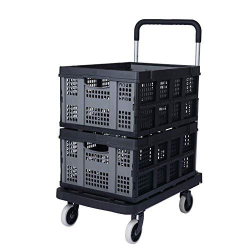 DFBGL Multifunktions tragbare Handwagen, Einkaufswagen Tragbarer Handwagen Aluminium-Klapprad Handwagen Leichter Transportwagen mit zusammenklappbarer Abnehmbarer Box, schwarz, Stil 3