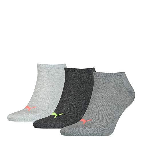 PUMA Sneaker Trainer Plain Socks Calzini, Grigio Scuro mélange, 43-46 Unisex-Adulto