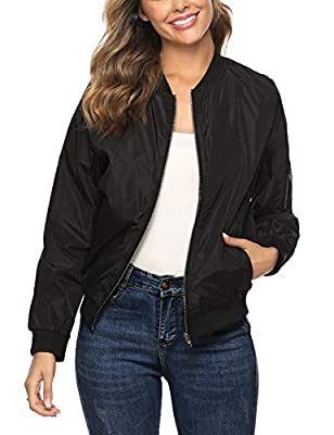 Aibrou Black Womens Bomber Jacket Zip Lightweight Long Sleeve Casual Coat with Pockets by AMN00374_B_L