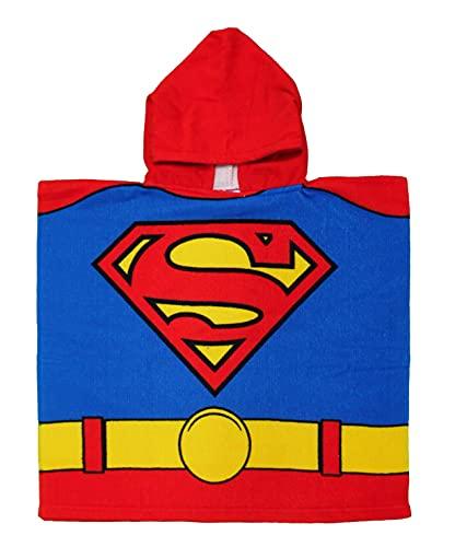 Superman Poncho mit Kapuze für Jungen, 55 x 110 cm, 100 % Polyester-Mikrofaser