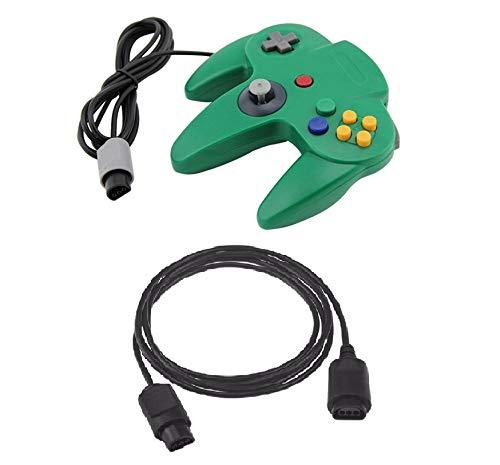 DARLINGTON & Sohns Grüner Controller für Nintendo 64 N64 Joystick Grün Gamepad Joypad + Verlängerung Extansion Verlängerungskabel Gamepad