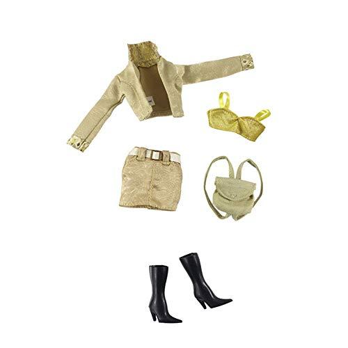 Hdsght Ropa de muñeca zapatos para muñecas de 11.5 pulgadas, accesorios de disfraz, chaqueta, camisola, falda, bolso, botas, trajes casuales, decoración de juguetes