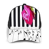Gorra de Beisbol Espalda de Malla Senderismo al Aire Libre Sombrero Deportivo,Extraer las manos rosa roja en el piano con las notas musicales instrum,Gorra de Sol de Enfriamiento para Hombres Mujeres