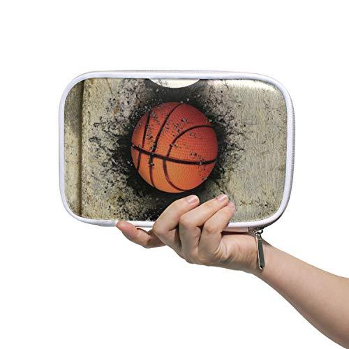 LUPINZ Kosmetiktasche mit Basketballmotiv in Ziegelmauer, für Stifte, Schreibwaren und Aquarellstifte, Marker und Make-up-Pinsel