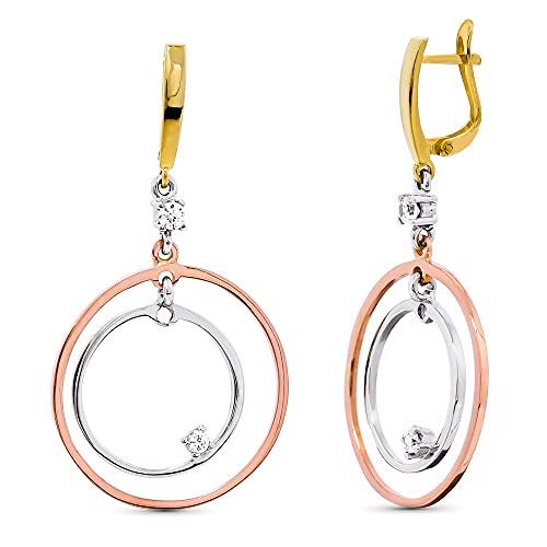 Pendientes oro tricolor 18k mujer largos 45 mm. círculos calados combinados circonitas