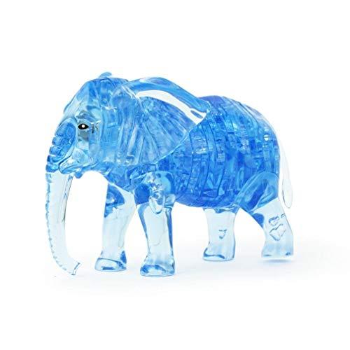 3D Crystal Puzzle Lindo Elefante Modelo DIY Gadget Bloques de Construcción Juguete Regalo Educativo Cabeza Desarrollar Ayudante Azul Durable Servicio
