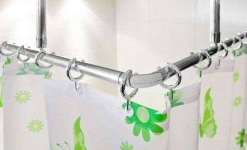 Lot de 2 barres pour rideau de douche coudées en aluminium, 120 x 120 cm très longues, couleur argent chromé, déplacement facile du rideau de douche garanti, adapté aux personnes à mobilité réduite