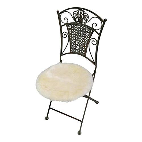 Hollert zitkussen, stoelkussen van echte Merino lamsvacht Ø 40 cm, champagne, ideaal ook als onderlegger voor autostoel, kinderzitje, huisdier enz.