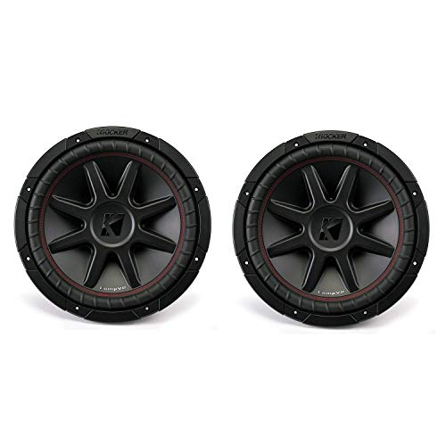 Kicker 43CVR122 CompVR 12 Inch 1600 Watts 2 Ohm Dual Voice Coil Car Audio Subwoofers with Santoprene Surround and Progressive Roll Spider, Pair