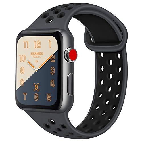ATUP コンパチブル Apple Watch バンド 42mm 38mm 44mm 40mm、ソフトシリコン交換用リストバンド iWatch Series4/3/2/1に対応、iWatchは含まれていません (42/44 M/L, 03 暗灰色/黒)