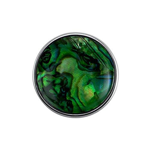 Quiges Damen Click Button 18mm Chunk Grünes Kunsteperle Versilbert für Druckknopf Zubehör