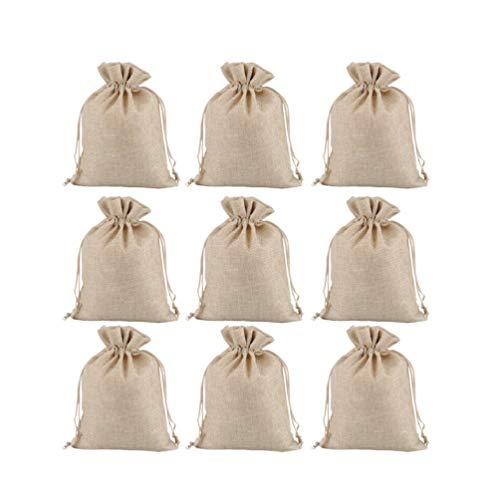 BESPORTBLE 12Pcs Sacs de Cordon en Toile de Jute Sac en Lin Mini Pochettes 15X20cm Faveur de Fête de Mariage Bijoux Cadeau Sac Bonbons Doux Sacs de Rangement (Beige)
