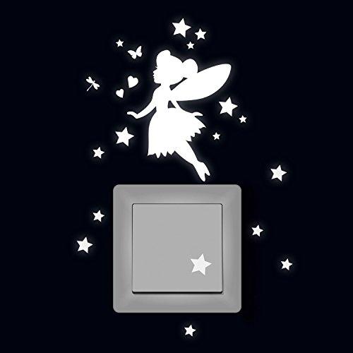 ilka parey wandtattoo-welt® Lichtschaltertattoo Elfe Fee fluoreszierend Leuchtsticker mit Elfe Fee Sterne & Herze M2214