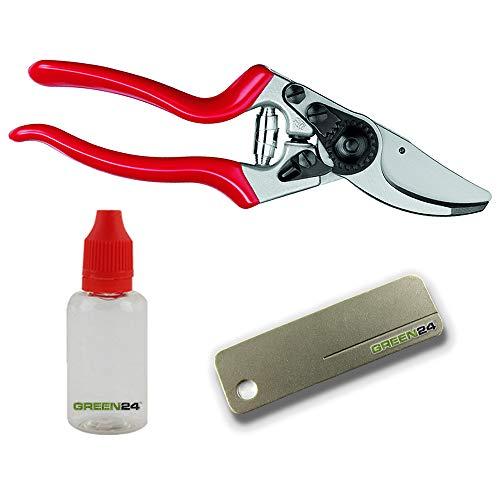 GREEN24 FELCO Starter-Set für Linkshänder Felco-Schere Nr. 9, Pflege-Öl und Schleif-Stein für Den sofortigen Start