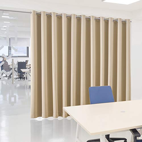 bluCOASTLINE Room Divider Curtains Room Partition Curtain Room Separator Privacy Curtain for Living Room, Office, Hotel, Clinic Sound Dampening Thermal Insulated, 15ft Wide x 8ft Tall, Beige