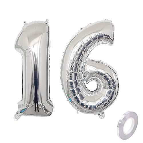 Haosell Party Folienballon Zahl 16 Silber Helium Luftballon Nummer 16 Geburtstag Nummer 16 Geburtstag Party Dekoration Luftballon Geburtstag XL Folienballon 32