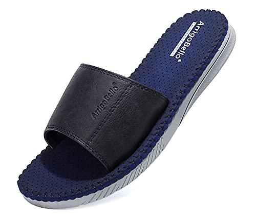 ARRIGO BELLO Chanclas Hombre Cuero Punta Abierta MD Suela Sandalias Verano Zapatos de Playa y Piscina Tamaño 41-46 (C Azul, 42)