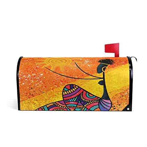 Wamika Afrikanisches Mädchen hält Sonne, Digitale Briefkasten-Abdeckung, wetterfest, magnetisch, verblasst Nicht, wetterfest, Orange