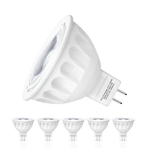 Ampoule LED Gu 5.3, Seealle 5W MR16 Gu5.3 Spot LED, Equivalent 50W Ampoule Halogène, 500Lumen, Blanc Chaud3000K, MR16 LED, AC/DC 12V, Non-Dimmable(Lot de 6)