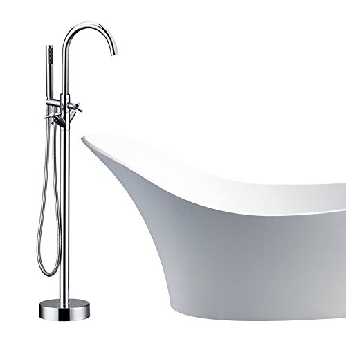 Modern Freestanding Bathtub Shower Mixer Taps Chrome Floor Mounted Clawfoot Tub Shower Faucets with...