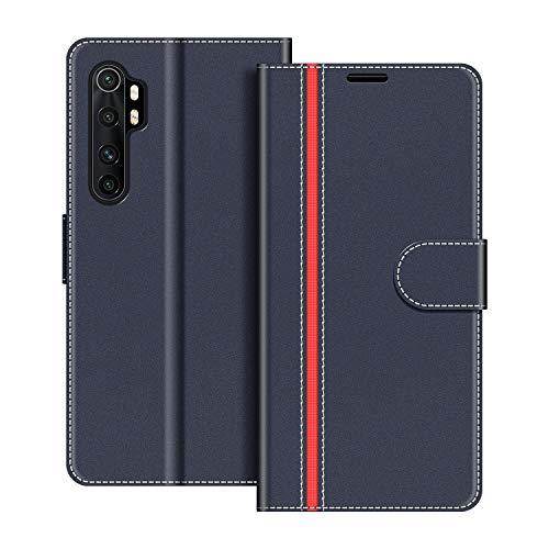 COODIO Handyhülle für Xiaomi Mi Note 10 Lite Handy Hülle, Xiaomi Mi Note 10 Lite Hülle Leder Handytasche für Xiaomi Mi Note 10 Lite Klapphülle Tasche, Dunkel Blau/Rot