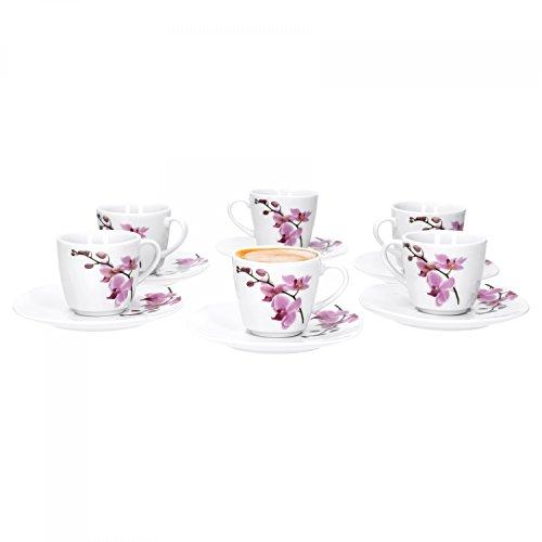 6er Set Espressotasse mit Espressountertasse Kyoto Orchidee