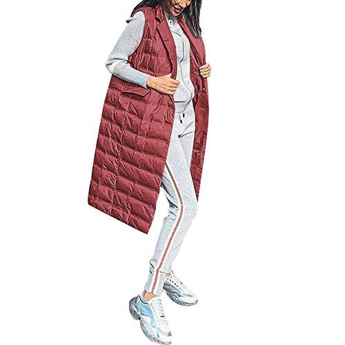 Huaheng Chaleco Acolchado Ligero para Mujer Chaleco Medio Largo Chaleco abrigado de Invierno Nuevo