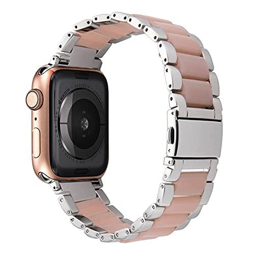 N\C Correa de acero inoxidable de resina para Apple Watch 5, 44 mm, iWatch 42 mm, serie 5, 4, 3 y 2, accesorios para la muñeca de 40 m
