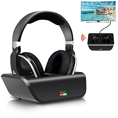 Wireless TV Headphones, Monodeal Over Ear Headsets for TV Watching with Charging Dock, 2.4GHz RF Transmitter, 100ft Wireless Range and Rechargeable 20 Hour Battery, Black