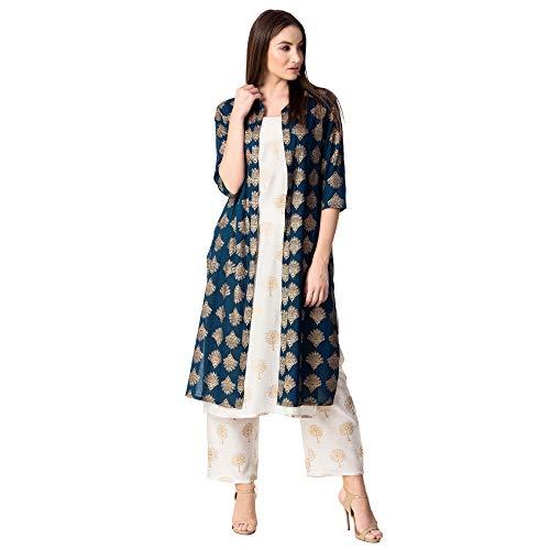 Khushal K Women Rayon Jacket Kurta With Palazzo Pant Set (KK-169-Blue-Jacket-L_Blue_Large)