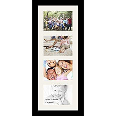 ArtToFrames Collage Photo Frame Single Mat with 4 - 5x7 Openings and Satin Black Frame.