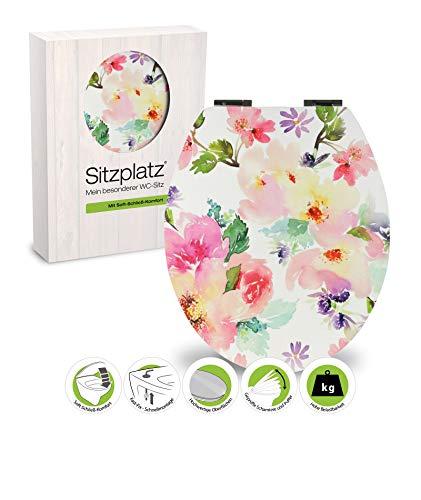 SITZPLATZ - 40665 9 - WC-Sitz Soft Touch Dekor Gerbera - WC Brille mit Absenkautomatik - Toilettensitz mit Holz-Kern & Fast-Fix Schnellbefestigung