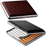 roygra PU Leather & Metal Cigarette Case 2 Pack, Only for 85mm Cigs, 18-20 Capacity