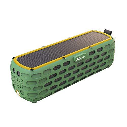 KKmoon BT 4.0スピーカー ES-T63防水ソーラースピーカー ワイヤレスHiFiスピーカー 内蔵マイク付き アウトドアクライミングサイクリング用 LEDライト付き