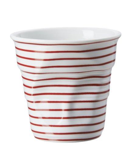 Revol Gobelet Froissé Cappuccino en Porcelaine 18 Cl Blanc / Rouge, Tasse à Café Cappuccino, RV646080