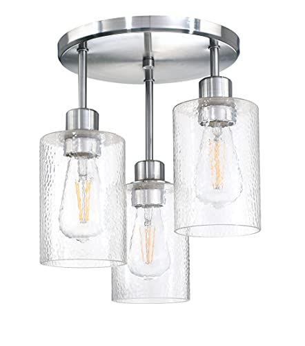 LED 3-Light Semi Flush Mount Ceiling Light Industrial Farmhouse Chandelier Fixture Water Grain Glass with Brushed Nickel Finish Bedroom Hallway Dining Room Entryway Kitchen Cafe Bar