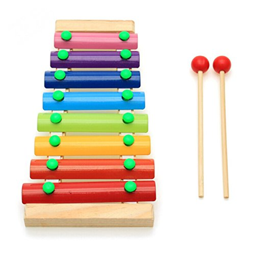 Pixnor Glockenspiel Baby Kid Percussion Instrument Wooden Hand Knock Piano Musical Toy