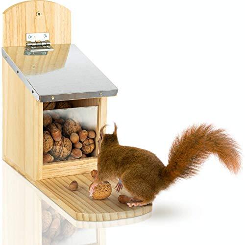 deintierhaus.de© | Eichhörnchen Futterhaus aus Kiefernholz mit Metalldach - fertig montiert & wetterfest - Futterstation zum Aufhängen für Garten & Balkon - Futterautomat Futterkasten | 29x25x11cm