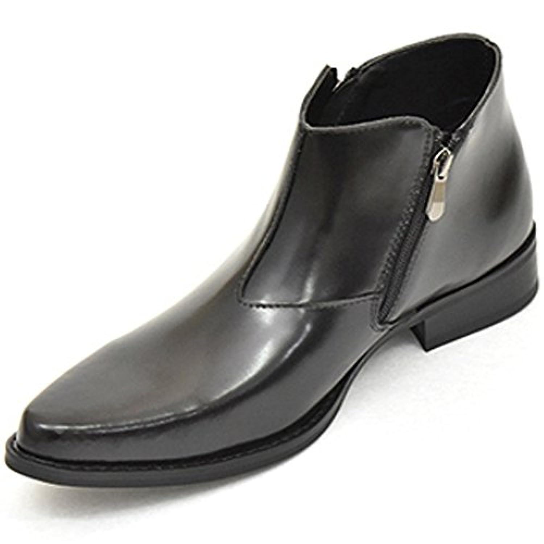 [フィデリオ] 革靴 レザー 本革 ショートブーツ シークレットシューズ シークレットブーツ サイドジップブーツ ロングノーズ ビジネスシューズ 紳士靴 【VCTSZ-90】 ブラック