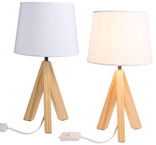 Bada Bing 2er Set Tischleuchte Stativ Ca. Ø 19 x H. 36 Cm Variante I mit Holzfuß Schirm weiß Lampe Leuchte 85