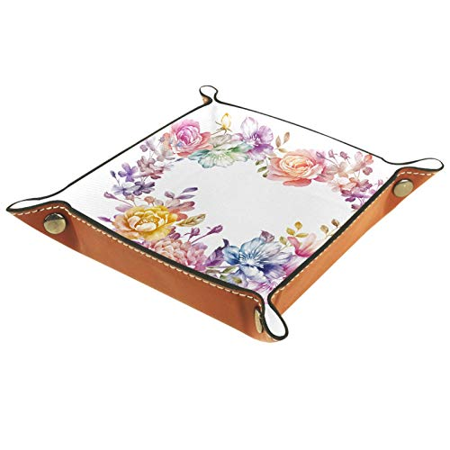 Caja de almacenamiento pequeña, bandeja de valet para hombre,Corona de corazón de aro floral,Organizador de cuero para llaves de caja de monedas