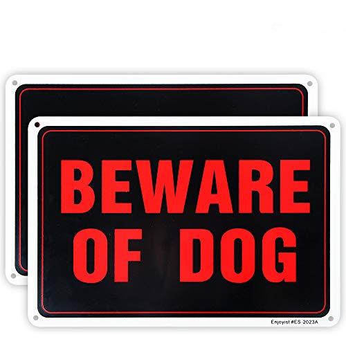 Enjoyist 2-Pack Beware of Dog Sign, 10'x 7' .04' Aluminum Reflective Sign Rust Free Aluminum-UV Protected and Weatherproof