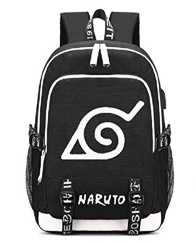 YOYOSHome Beleuchteter japanischer Anime-Cosplay-Tagesrucksack, Büchertasche, Laptoptasche, Schultasche mit USB-Ladeanschluss (Naruto 1)
