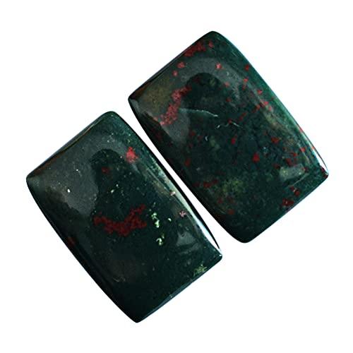 24176 - Par de piedras preciosas naturales de piedra de sangre para pendientes de piedras preciosas sueltas, tamaño 34 x 16 x 5 mm, pendientes de joyería