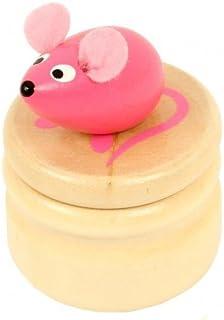 Boite à dents de lait souris rose boîte en bois couvercle à visser enfant 5 ans